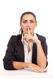 Business woman shushing Stock Image