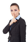 Business Woman Shut Up Sign Stock Image