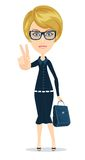 Business Woman - sign of victory Royalty Free Stock Image