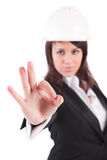 Business woman signaling ok Royalty Free Stock Images