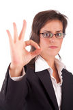 Business woman signaling ok. Isolated over white Stock Photo