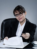 Business woman signing contract Stock Images