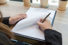 Business woman signing contract document form Royalty Free Stock Photo