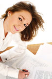 Business woman signing a document Royalty Free Stock Photo