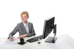 Business woman signs a contract. Royalty Free Stock Photography