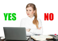 Business woman with Signs of yes and no icon. Business woman sitting at table. Acceptance and rejection symbol. Signs of yes and no icon Royalty Free Stock Photo
