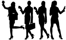 Business woman silhouette with briefcase Stock Photos