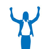 Business Woman Silhouette Excited Hold Hands Up Stock Image