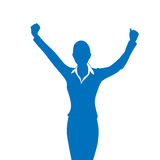Business Woman Silhouette Excited Hold Hands Up Stock Photo