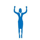 Business Woman Silhouette Excited Hold Hands Up Royalty Free Stock Photography