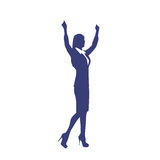 Business Woman Silhouette Excited Hold Hands Up Royalty Free Stock Images