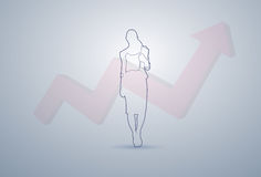 Business Woman Silhouette Financial Graph Arrow Up Background Stock Photo