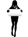 Business Woman Silhouette with NameTag Sign stock illustration