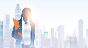 Business Woman Silhouette Over City Landscape Modern Office Buildings. Vector Illustration Stock Photos