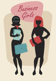 Business Woman Silhouettes. Business Girls. Black Silhouettes. Retro Style Stock Photography