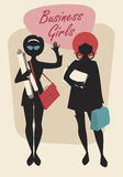 Business Woman Silhouettes. Business Girls. Black Silhouettes. Retro Style Stock Images