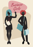 Business Woman Silhouettes. Business Girls. Black Silhouettes. Retro Style Royalty Free Stock Photo