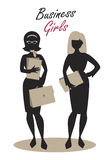 Business Woman Silhouettes. Business Girls. Black Silhouettes. Retro Style Royalty Free Stock Images