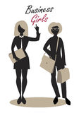 Business Woman Silhouettes. Business Girls. Black Silhouettes. Retro Style Royalty Free Stock Image