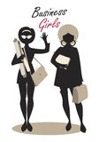 Business Woman Silhouettes. Business Girls. Black Silhouettes. Retro Style Stock Image