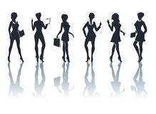 Business Woman Silhouettes Set. Set of six businesswomen silhouettes with accessories and shadows.  on white Royalty Free Stock Photos