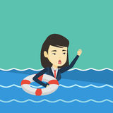Business woman sinking and asking for help. Royalty Free Stock Photos