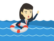 Business woman sinking and asking for help. Royalty Free Stock Images