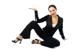 Business Woman Sit And Hold Hand Palm Up Royalty Free Stock Images