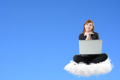 Business woman sit on cloud Royalty Free Stock Photos