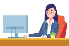 Business woman sit on desk and working on computer vector illustration