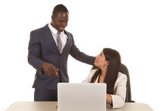 Business woman sit man point Stock Photography