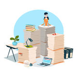 Business Woman Sit On Stacked Paper Document Paperwork Royalty Free Stock Images
