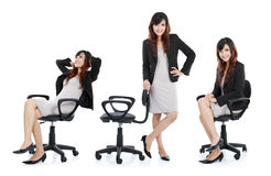 Business woman sits in office chair Stock Image