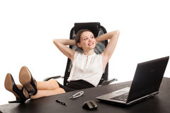 The business woman sits at office table Royalty Free Stock Photos