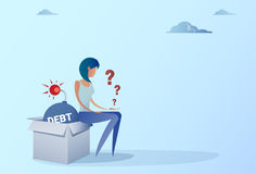 Business Woman Sitting On Bomb Credit Debt Finance Crisis Concept. Flat Vector Illustration Royalty Free Stock Photography