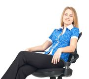 Business woman sitting in chair Stock Photo