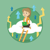 Business woman sitting on cloud with laptop. Royalty Free Stock Image