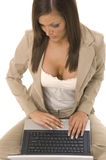 Business woman sitting with computer Stock Photography