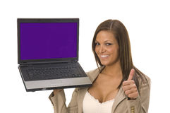 Business woman sitting with computer Royalty Free Stock Photos