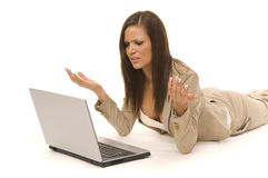 Business woman sitting with computer Stock Images