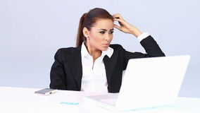 Business woman sitting at the desk stock footage