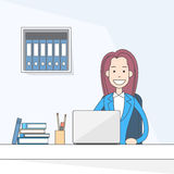 Business Woman Sitting at Desk in Office Working Laptop Computer Stock Image