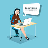 Business Woman Sitting Desk Office Working Laptop Computer Wear Headset Call Center Operator. Flat Vector Illustration Royalty Free Stock Photos