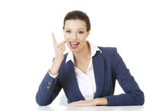 Business woman pointing with finger to empty copy space Royalty Free Stock Photos