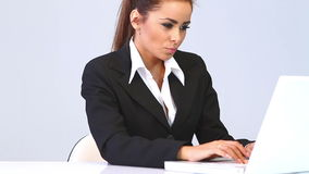 Business woman sitting at the desk and using laptop Stock Photography
