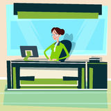 Business Woman Sitting Desk Working Computer Businesswoman Typing. Flat Vector Illustration Royalty Free Stock Photo