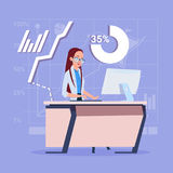 Business Woman Sitting Desk Working Computer Over Financial Charts Stock Images