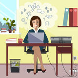 Business Woman Sitting at Desk Working Laptop Computer. Vector Illustration Royalty Free Stock Photo
