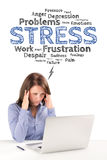 Business woman is sitting in front of a laptop under stress emot Stock Photos