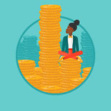 Business woman sitting on gold vector illustration Stock Images